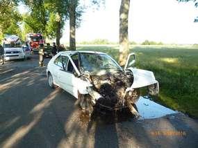 Wypadek na drodze w pobliżu Sępopola