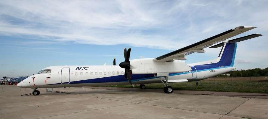 Bombardier Q400, taki sam będzie latał z Szyman do Warszawy w barwach LOT-u.