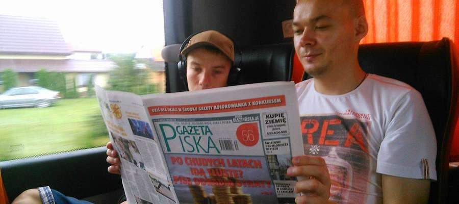 Pierwsze kilometry ku Portugali... oczywiście przy lekturze Gazety Piskiej