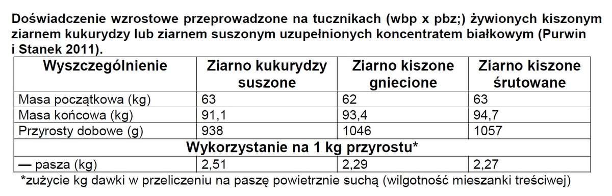 Doświadczenie wzrostowe przeprowadzone na tucznikach (wbp x pbz;) żywionych kiszonym ziarnem kukurydzy lub ziarnem suszonym uzupełnionych koncentratem białkowym (Purwin i Stanek 2011)