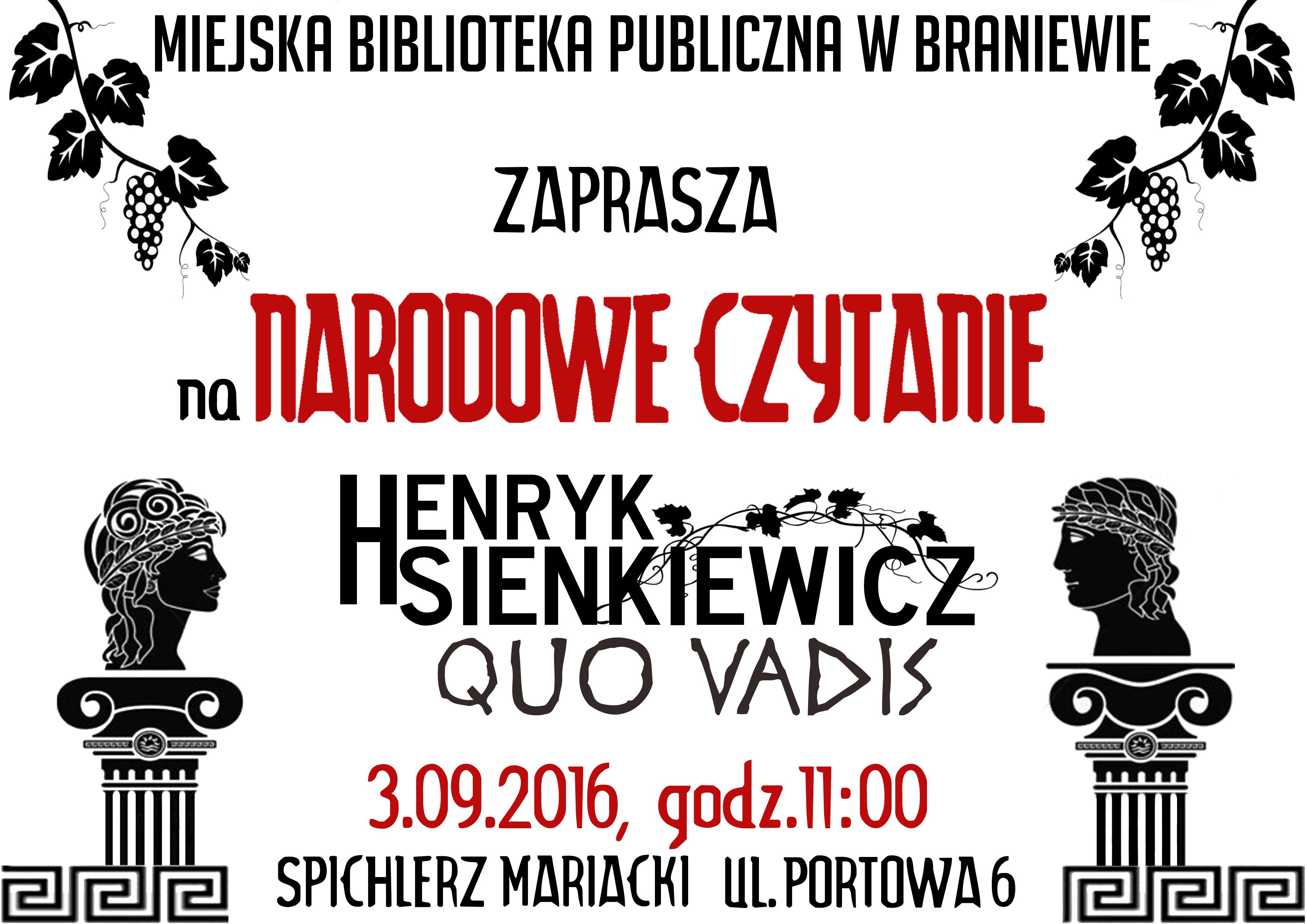 Narodowe Czytanie 2016 Tym Razem Quo Vadis Braniewo