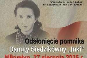 """Pomnik """"Inki"""" stanie w Miłomłynie"""