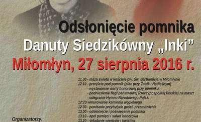 """Odsłonięcie pomnika """"Inki"""" w Miłomłynie"""