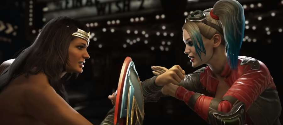 "Fragment nagrania ""New Injustice 2 Trailer Reveals Harley Quinn and Deadshot""."