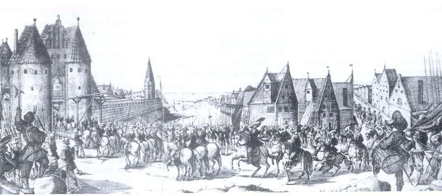 Elbląg 16 lipca 1626 roku. Król Szwecji Gustaw Adolf wjeżdża do Elbląga, pierwsza z lewej Brama Targowa