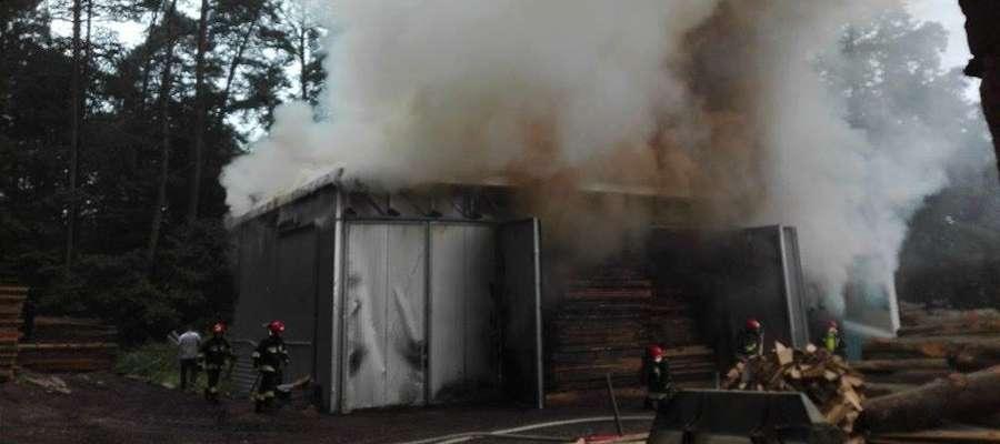 Pożar suszarni drewna w Emilianowie