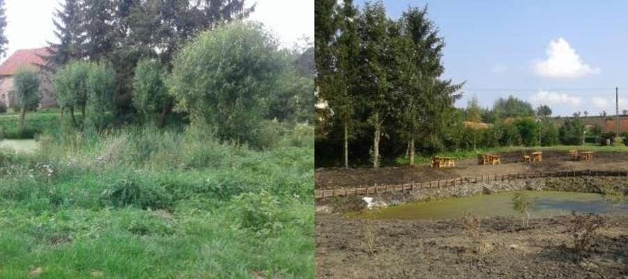 Oczko wodne w Prositach przed rozpoczęciem prac i po ich wykonaniu.