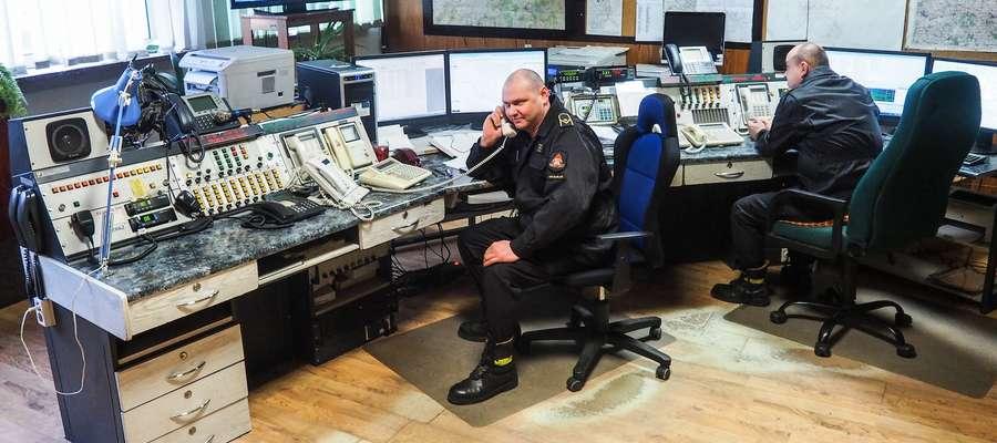 Stanowisko oficera dyżurnego Komendy Miejskiej PSP w Elblągu