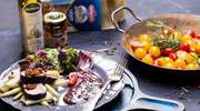 Przepis na obiad - polędwica w winie podana na płatach lasagne z pesto i z fasolką