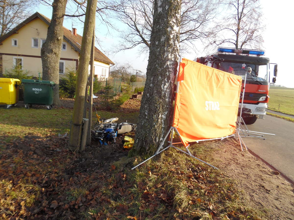 Motorowerzysta uderzył w słup. Zginął na miejscu - full image