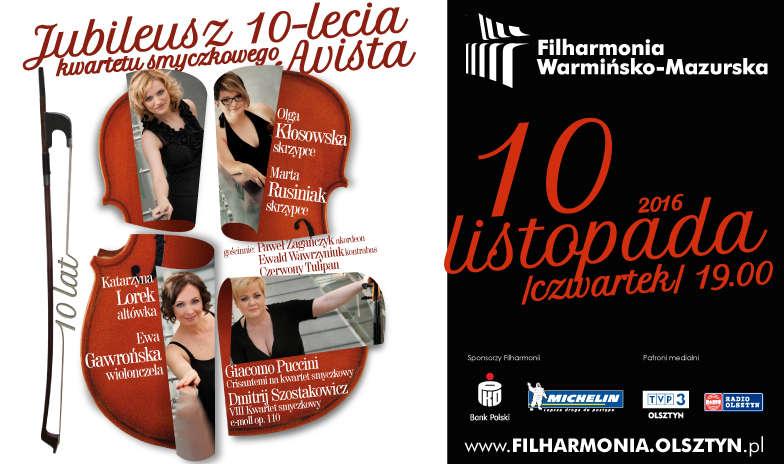 Jubileusz 10-lecia Kwartetu smyczkowego Avista w Olsztynie! - full image