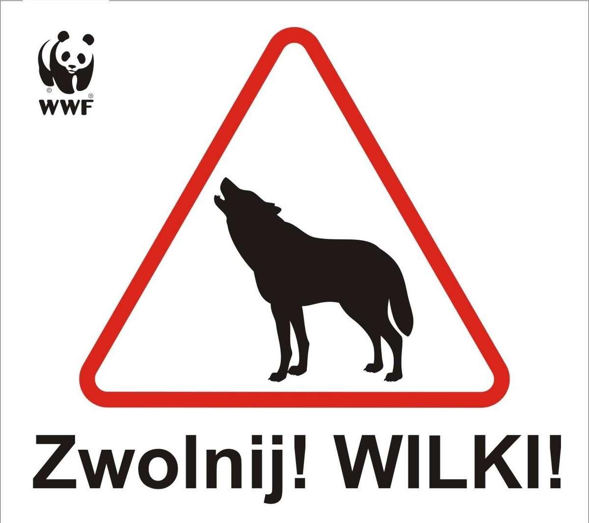 Kierowco zwolnij! Wilki! Nowy znak ostrzegawczy - full image