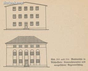 Projekt architektoniczny elewacji budynku młyna wykonany przez architekta Gustava Wolfa w 1919 roku.