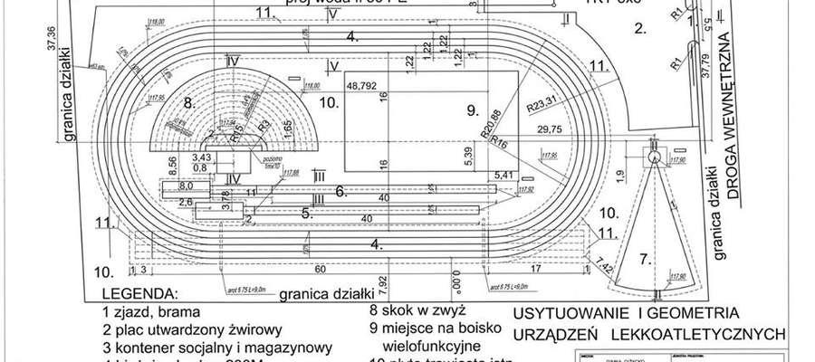 Projekt boiska lekkoatletycznego wykonał mieszkaniec Wilkas pan Piotr Ozorowski.