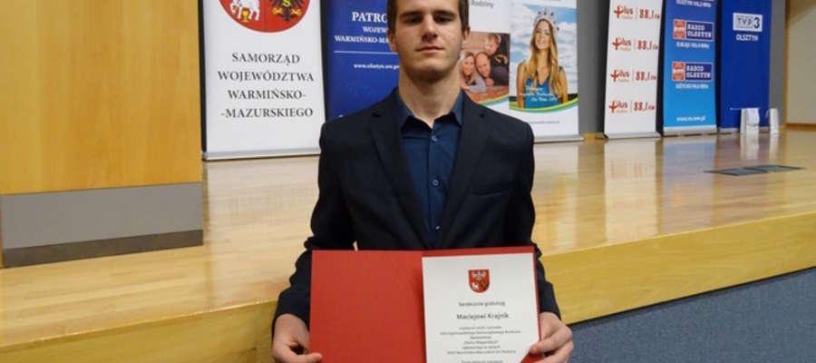 Maciej Krajnik, uczeń Zespołu Szkół im. I. Kosmowskiej w Suszu