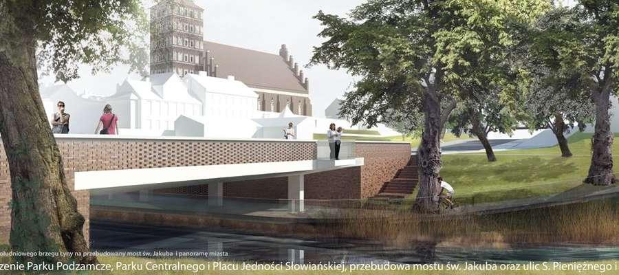 Połączenie Parku Podzamcze, parku Centralnego i Placu Jedności Słowiańskiej. Przebudowa mostu św. Jakuba oraz ulic Pieniężnego i Staszica