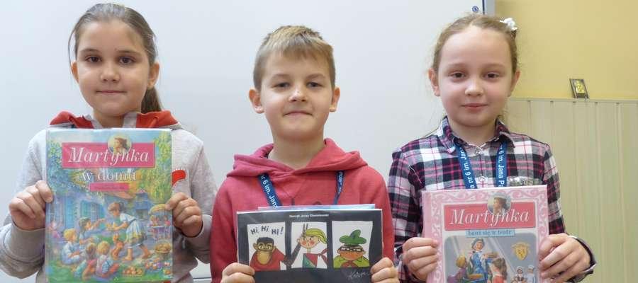 Książki polecają nam Roksana, Natalia i Adaś ze Szkoły Podstawowej nr 6 im. Jana Pawła II w Braniewie