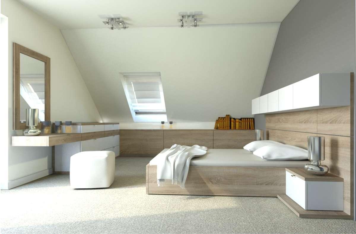 Przestrzeń pod skosami możemy zabudować i uzyskać funkcjonalne miejsce do przechowywania drobiazgów. - full image