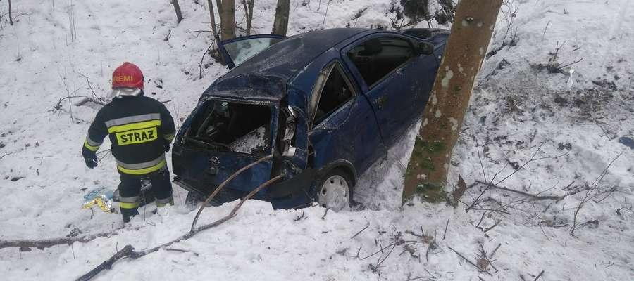 Kierująca oplem na trasie Górowo Iławeckie - Zielenica nie dostosowała prędkości do bardzo trudnych warunków drogowych.