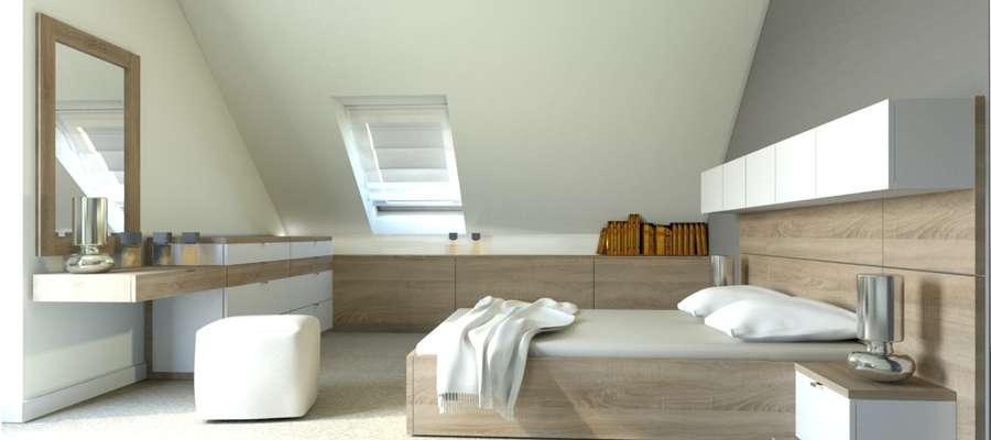 Przestrzeń pod skosami możemy zabudować i uzyskać funkcjonalne miejsce do przechowywania drobiazgów.