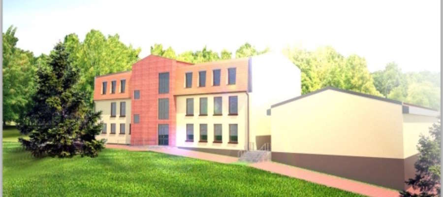 Wizja architektoniczna zmodernizowanych budynków w Rynie