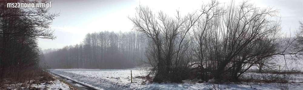 Czerwone wzgórza Pacółtowa pod śniegiem