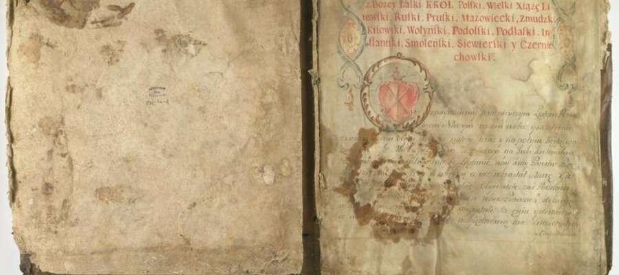 1. Skan pierwszej strony dokumentu lokacyjnego Żuromina z 1767 roku.