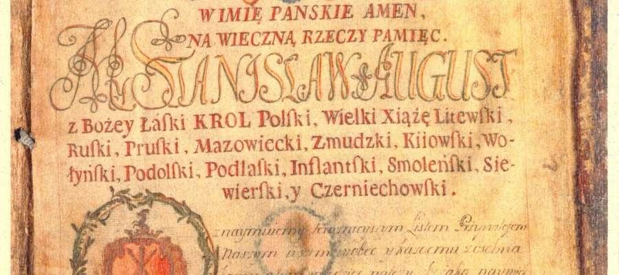 Przywilej nadania Praw Miejskich  dla Bieżunia , AGAD, sygn.7125