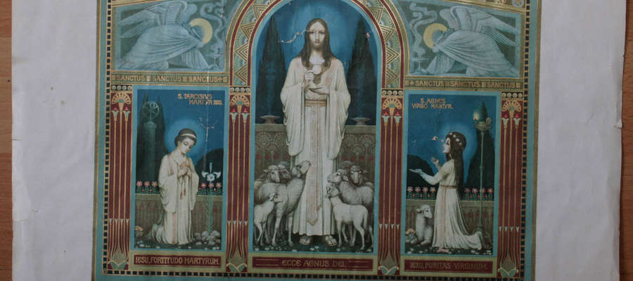 Obrazek z podpisem Sługi Bożego ks. Franza Zagermanna znaleziony w domu w Sątopach.