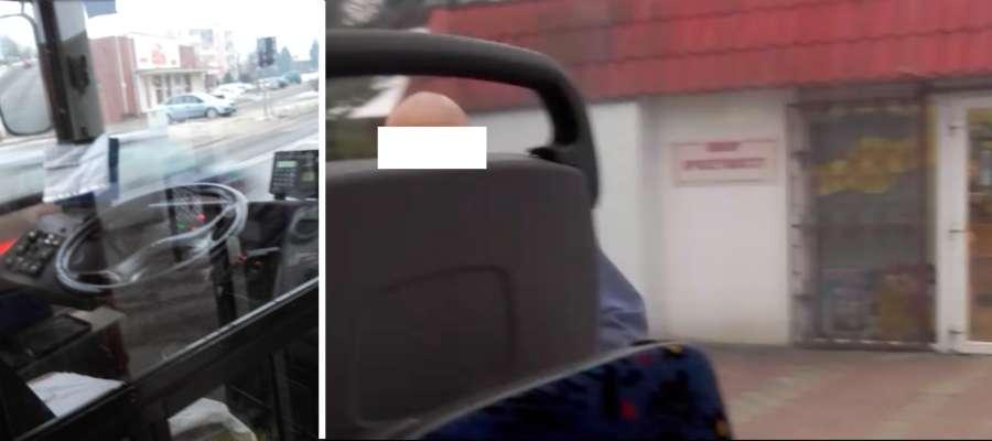 Jedna z pasażerek sfotografowała wracającego z zakupów kierowcę