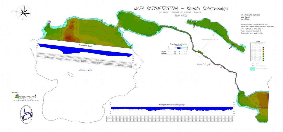 Mapa batymetryczna Kanału Dobrzyckiego, opracowana przez Stowarzyszenie Miłośników Kanału Elbląskiego Navicula - full image