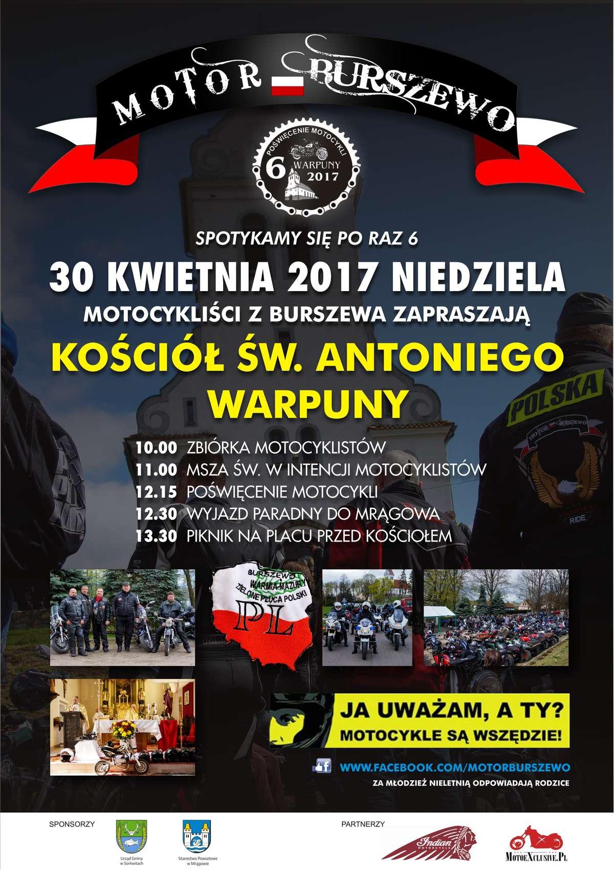 plakat inauguracyjny sezonu motocyklowego 2017 w Sorkwitach