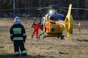 Dwa pożary w Barczewku. Mężczyzna z ciężkimi oparzeniami został zabrany śmigłowcem