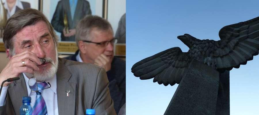 Radny Wiesław Burdyński uważa, że pomnik orła powinien zniknąć z iławskiego stadionu