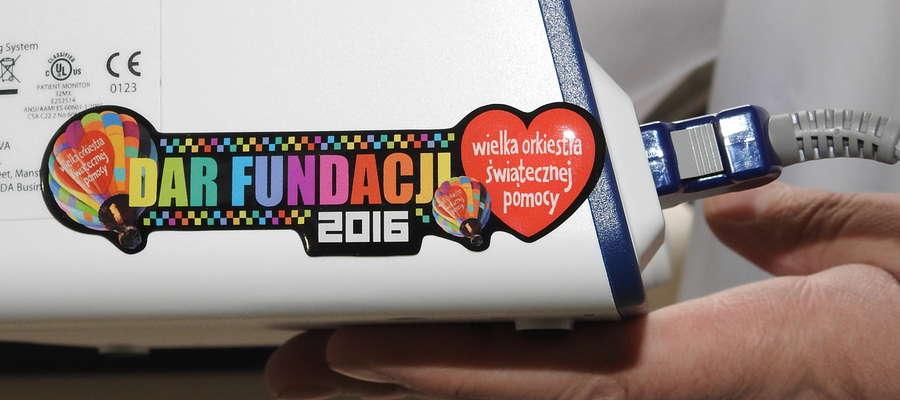 Sprzęt oznakowany jest logo fundacji