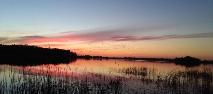 Zachód słońca nad jeziorem w Kinkajmach