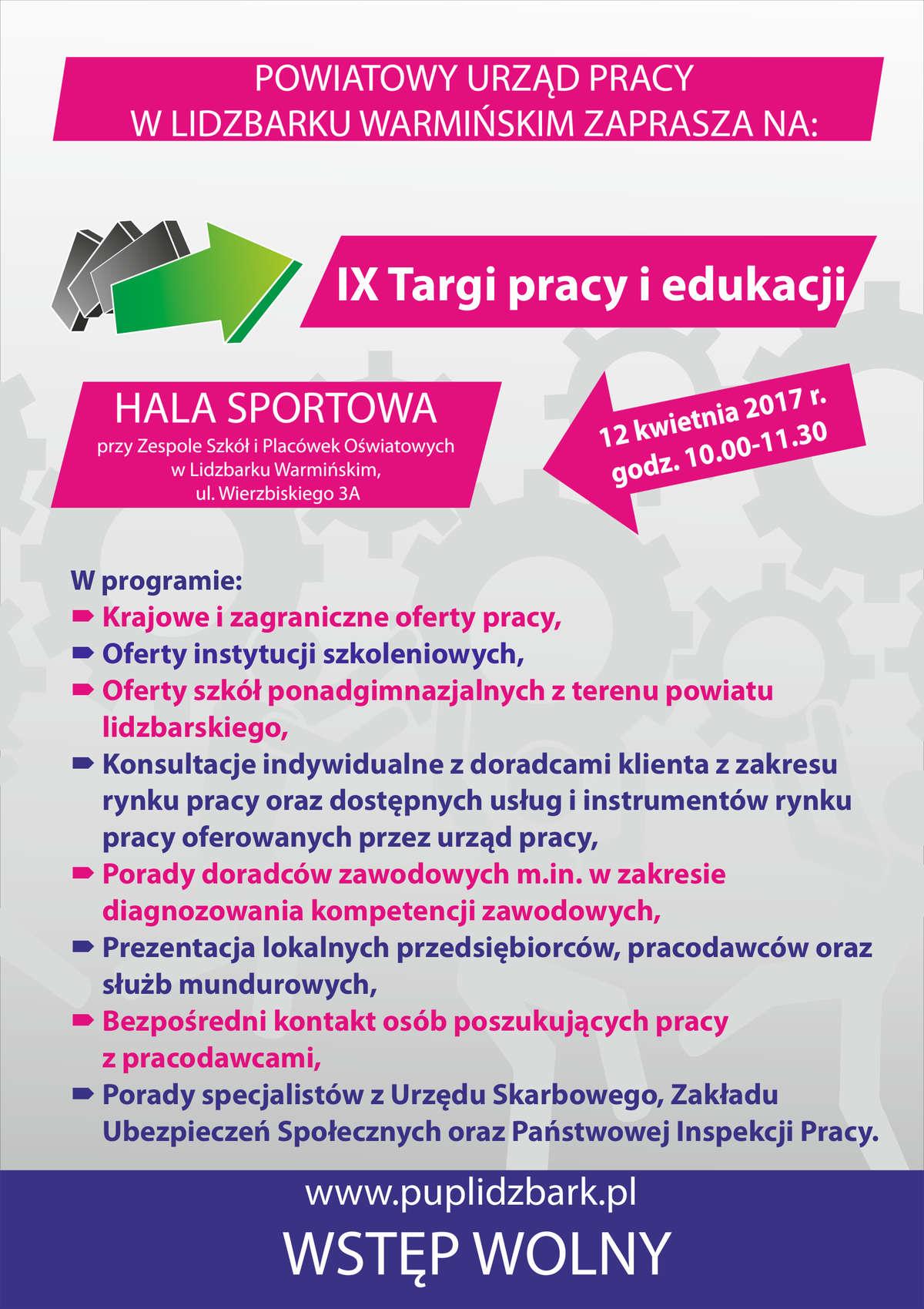 Plakat Targi Pracy i Edukacji w Lidzbarku Warmińskim