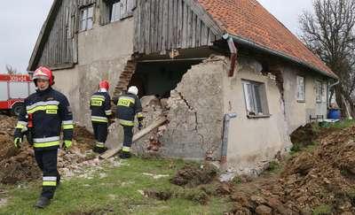 Podczas prac zawaliła się ściana budynku
