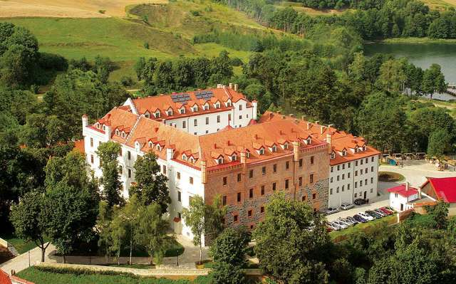 Zamek w Rynie z lotu ptaka - full image