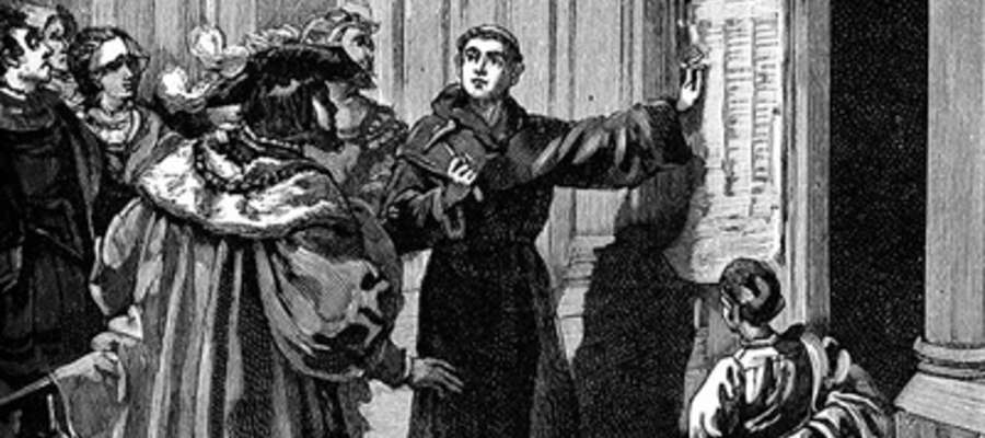 Reformacja rozpoczęła się od wystąpienia zakonnika Marcina Lutra. Wedłu tradycji, 31.10.1517 r. przybił on na drzwiach kościoła w Wittenberdze 95 tez o odpustach