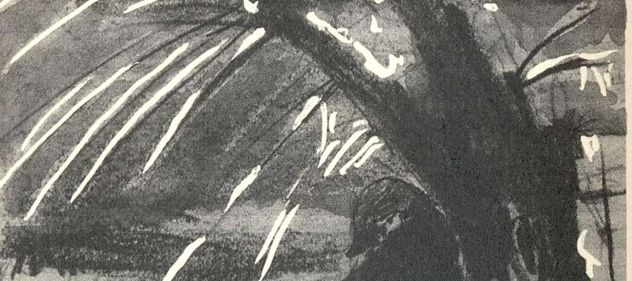 Rycina autorstwa J. Domino – widać na niej płaczącą wierzbę otulającą żołnierza w bikornie na głowie, a obok wbitą w ziemię szablę …