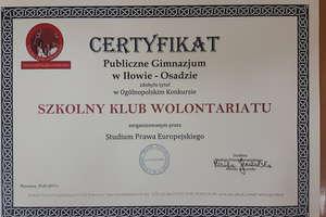 Szkolny klub wolontariatu w Zespole Szkół nr 1 w Iłowie