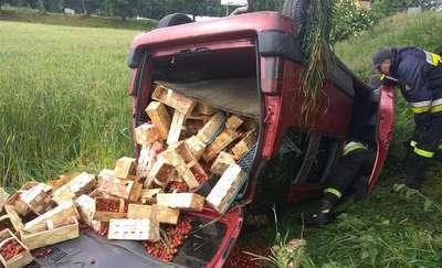 W Pilcu auto wypadło z drogi. Jedna osoba w szpitalu