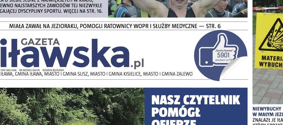Fragment nowej 1 strony Gazety Iławskiej. Całość okładki publikujemy pod artykułem