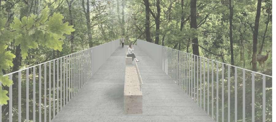 Lasek miejski może być doskonałym miejscem odpoczynku, tu akurat projekt tarasu widokowego
