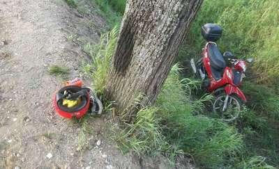 Wjechał skuterem w drzewo