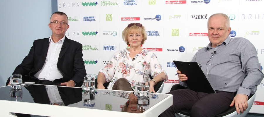 Gośćmi Igory Hrywny w studio GO TV byli radni olsztyńskiej Rady Miasta — Krystyna Flis i Mirosław Gornowicz
