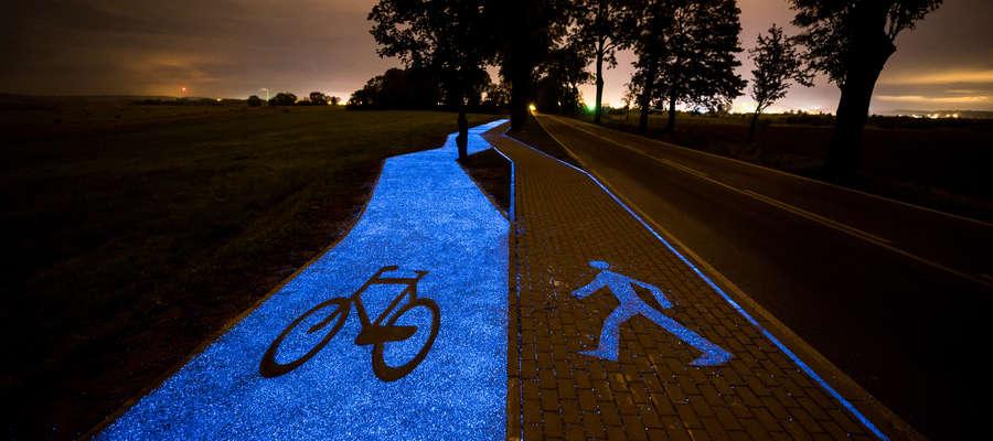 Dwa lata temu pod Lidzbarkiem Warmińskim powstała świecąca ścieżka rowerowa