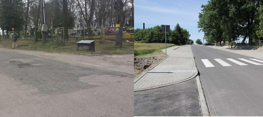 zdjęcie Ulica Długa przed remontem i po jego zakończeniu