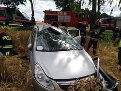 Opel dachował w pobliżu Płoskini. Kierująca w szpitalu